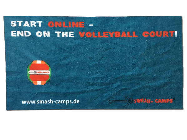 "Beach Towel ""Start online – End on the volleyball court"""